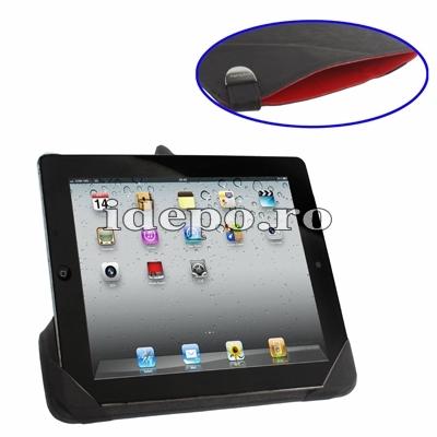 Husa iPad 4, iPad 3 <br>  Rovere Exclusive - Black <br>  Functie de hibernare
