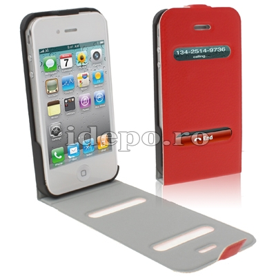 Husa iPhone 4S, 4   <br>Table Talk Fire Red<br> Caller ID Plus
