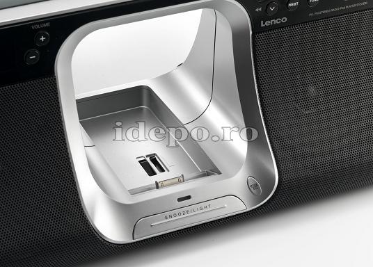 Lenco iPD-5100<br> Dual Zone Clock&Alarm<br> Sistem audio iPhone, iPod
