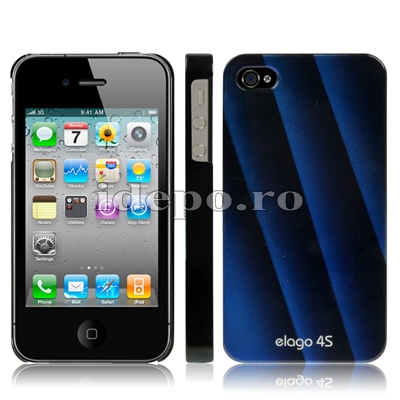 Husa iPhone 4S, 4  <br> Elago Blue<br> + Folie protectie ecran