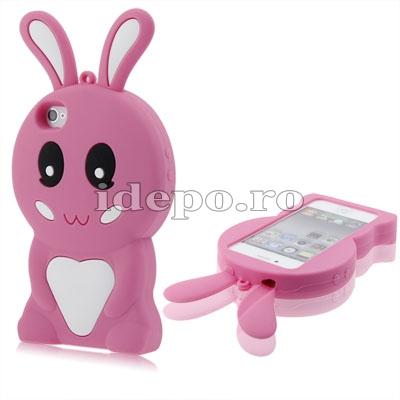Husa iPhone 4, 4S <br>Bunny Pink<br> Accesorii iPad