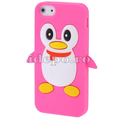 Husa iPhone 5S, 5 <br> Pinguin Silicon Magneta<br> Accesorii iPhone 5S, 5