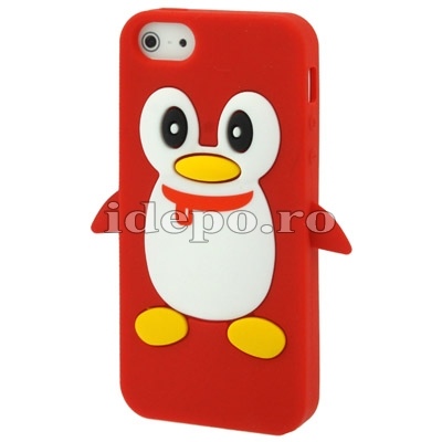 Husa iPhone 5S, 5 <br> Pinguin Silicon Red<br> Accesorii iPhone 5, 5S
