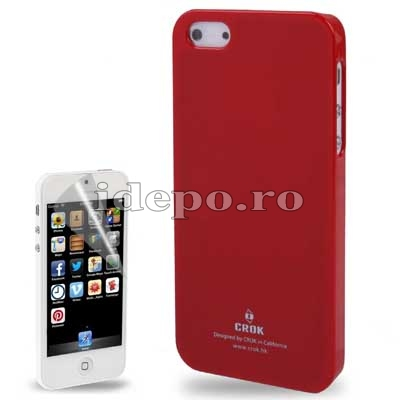 Husa iPhone 5S, 5 <br>  Crok Ultra Slim Red<br> + Folie protectie ecran