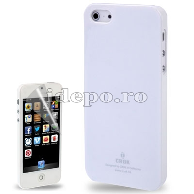 Husa iPhone 5S, 5 <br>  Crok Ultra Slim White<br> + Folie protectie ecran