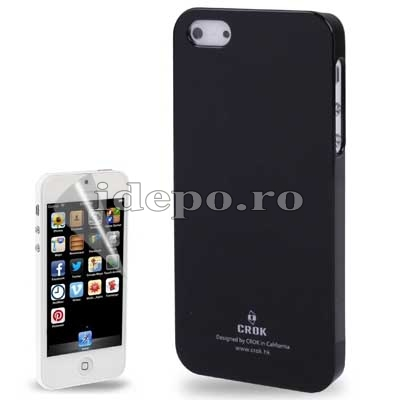Husa iPhone 5S, 5 <br>  Crok Ultra Slim Black<br> + Folie protectie ecran