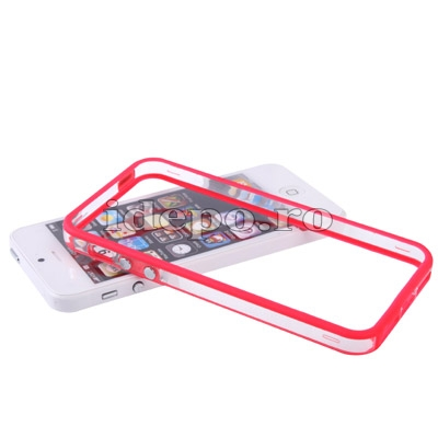 Bumper silicon iPhone 5S, 5 <br> Duo Red<br> Accesorii iPhone 5S, 5