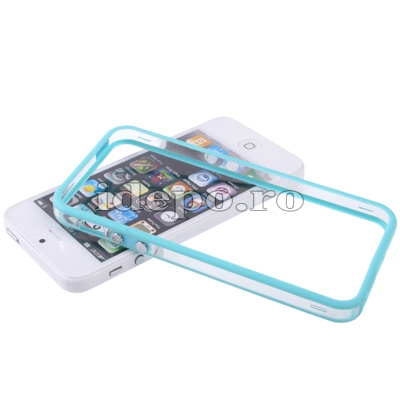 Bumper silicon iPhone 5S, 5 <br> Duo Blue<br> Accesorii iPhone 5S, 5