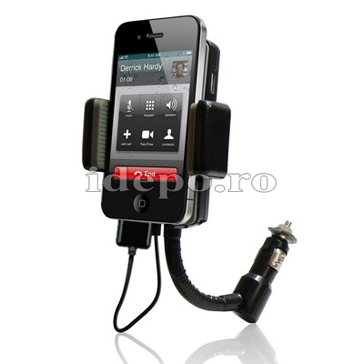 Car kit hands-free cu modulator FM iPhone 4,4S, iPod