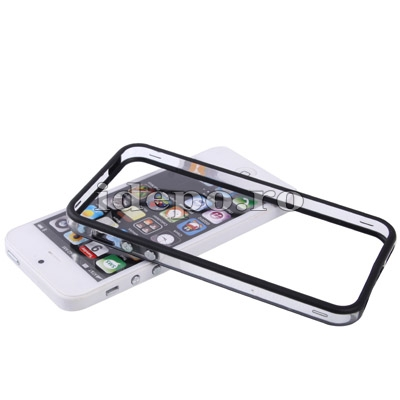Bumper silicon iPhone 5S, 5 <br> Duo Black<br> Accesorii iPhone 5S, 5