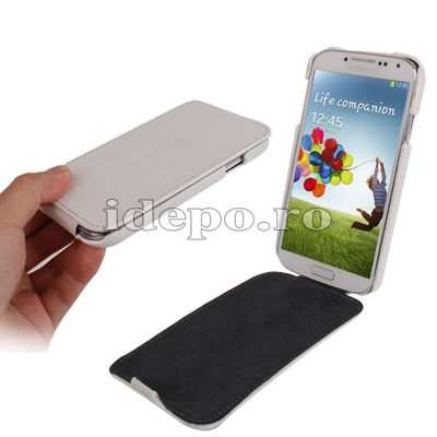 Husa Samsung Galaxy S4 i9500 <br> Jacka Leather White<br> Accesorii Samsung Galaxy S4
