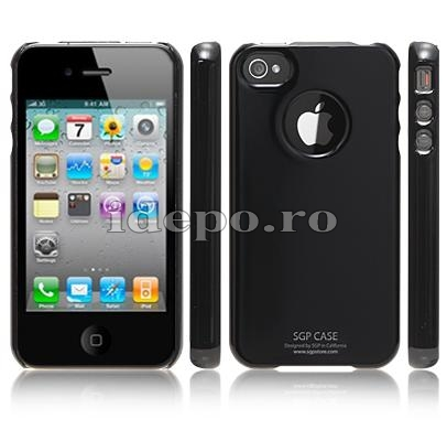 Husa iPhone 4  SGP Ultra Thin Black + Folie protectie ecran