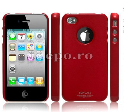 Husa iPhone 4  SGP Ultra Thin Red+ Folie protectie ecran