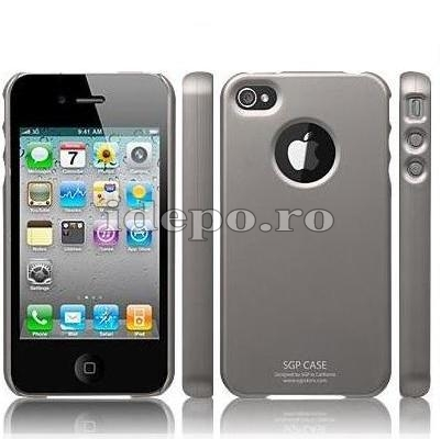 Husa iPhone 4  SGP Ultra Thin Gray+ Folie protectie ecran