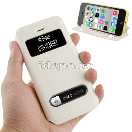 Husa iPhone 5C <br>Caller ID White <br> Accesorii iPhone 5C