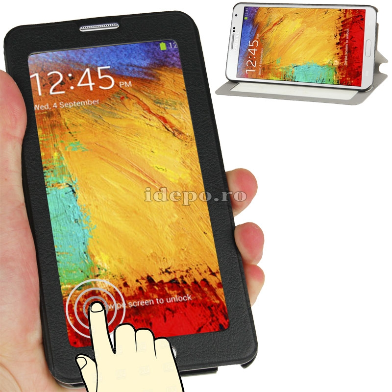 Husa Samsung Galaxy Note 3 N9000, N9005<br>  Sun Touch Screen Black