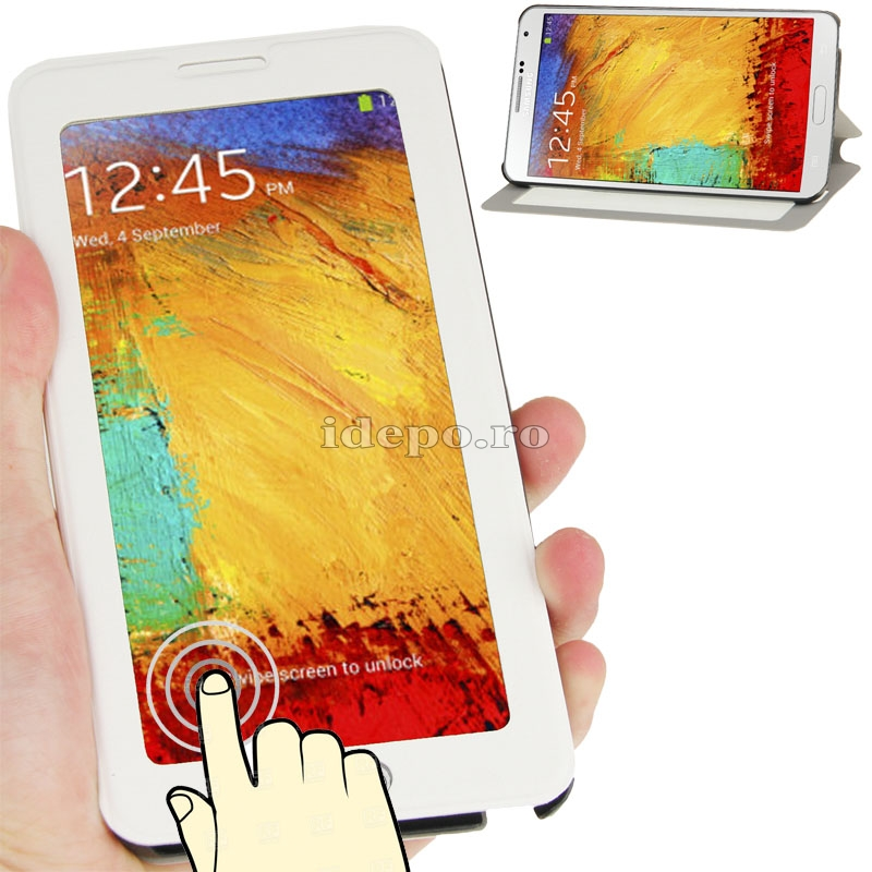 Husa Samsung Galaxy Note 3 N9000, N9005<br>  Sun Touch Screen White