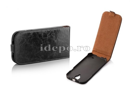 Husa Galaxy S4 i9500 <BR> SURAZO VERO LEATHER <BR> HAND MADE - BLACK