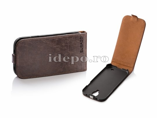 Husa Galaxy S4 i9500 <BR> SURAZO VERO LEATHER <BR> HAND MADE - BROWN