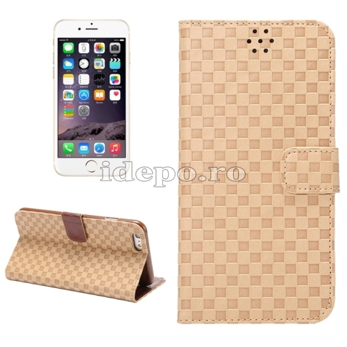 HUSE PIELE<BR>GRID TEXTURE FLIP<BR>IPHONE 6, 6S PLUS - BROWN