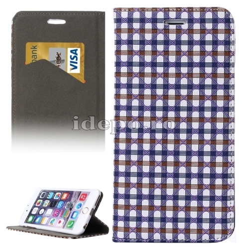 HUSE PIELE <BR>GRID COLORFUL CASE<BR>IPHONE 6, 6S PLUS -BLUE/WHITE