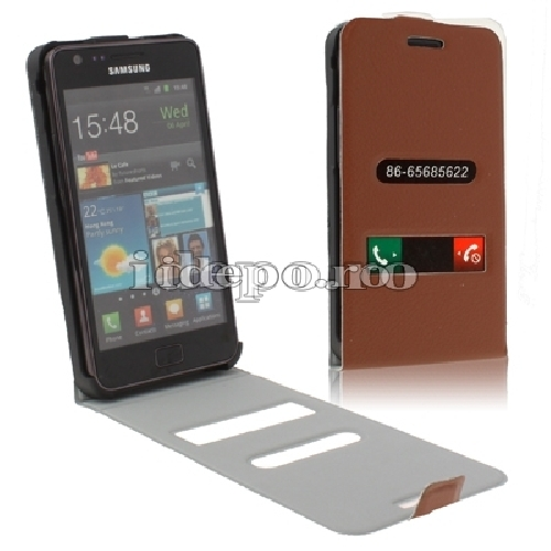 Husa GALAXY <BR> GALAXY S2 I9100 - Brown <BR> TABLE TALK - Piele