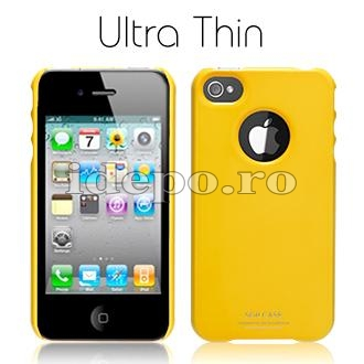 Husa iPhone 4  SGP Ultra Thin Yellow+ Folie protectie ecran