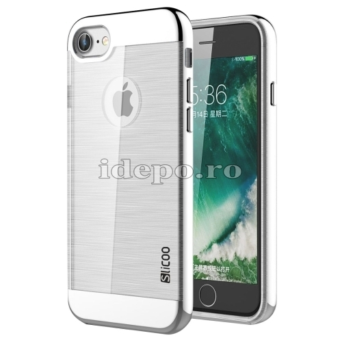 HUSE IPHONE 7 <BR> TPU - SILVER <BR> SLICOO CONCISE