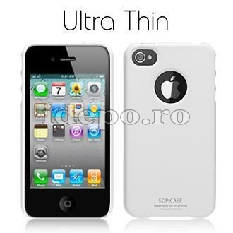 Husa iPhone 4  SGP Ultra Thin White+ Folie protectie ecran
