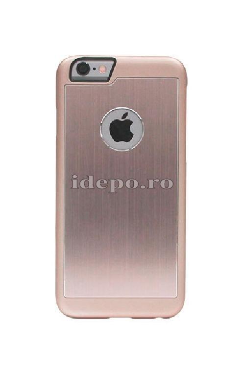 Husa iPhone 6, 6S <br> Carcasa spate aluminiu - ROSE GOLD