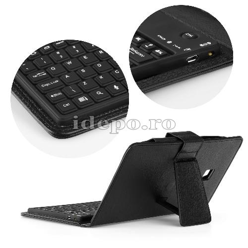 Husa SAMSUNG TAB 3 P3200 (T211) 7 INCH - Piele Neagra QWERTY, Bluetooth 3.0