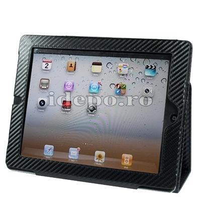 Husa iPad 2  <br> Sun Carbo Piele <br> Mici defecte optice pe FLIP