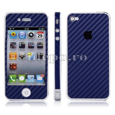 Folii protectie carbon iPhone 4,4S  Sun Carbon Blue