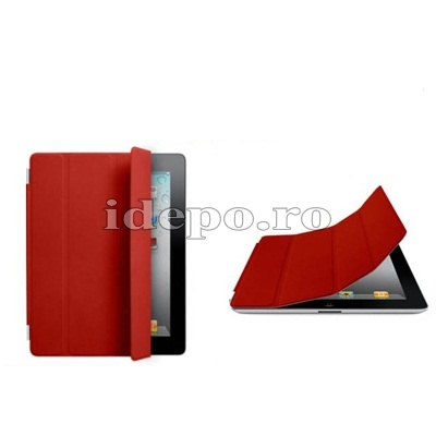 Husa iPad 3, iPad 4 <br> Smart  Cover Red <br> Functie hibernare