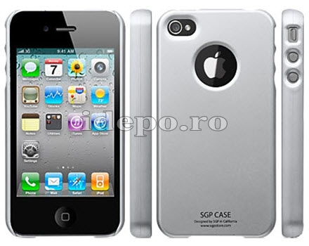 Husa iPhone 4 <br> SGP Ultra Thin Silver<br>+ Folie protectie ecran