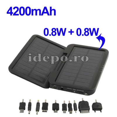 Incarcator solar 1.6W cu baterie 4200mAh