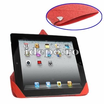 Husa iPad 4, iPad 3 <br> Exclusive Rovere - Red <br> Functie de hibernare