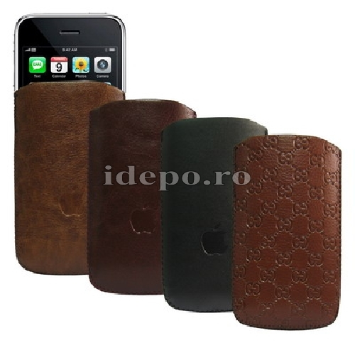Husa iPhone 4, 4S <br> Gucci Style Leather<br> Disponibila in diverse culori