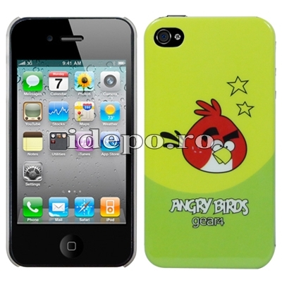 Husa iPhone 4S, 4 <br> Angry Birds Lime Green<br> Accesorii iPhone 4S