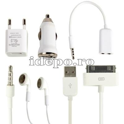 Baterie ext. iPhone 4/4S + Casti audio + Splitter + Incarcator