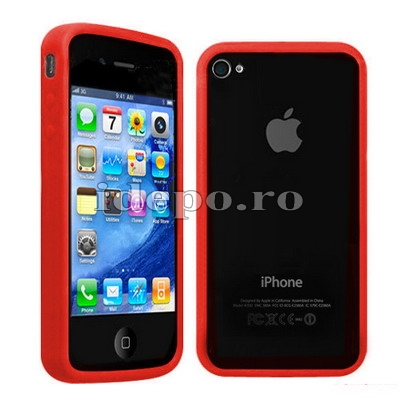 Bumper iPhone 4,4S <br> Max Grip Red<br> Accesorii iPhone 4